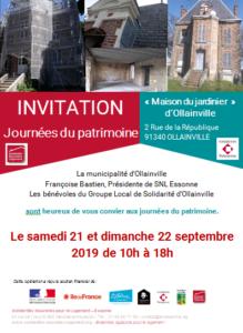 Invitation Journées du patrimoine 21-22 septembre 2019 à la « Maison du Jardinier » d'Olainville